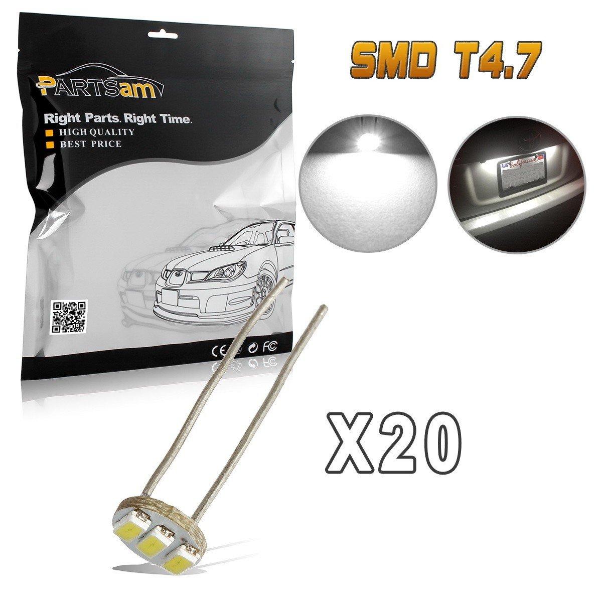 Partsam 20Pcs 4.7mm-12v Car White Mini Bulbs Lamps Indicator Cluster Speedometer Backlight Lighting by Partsam