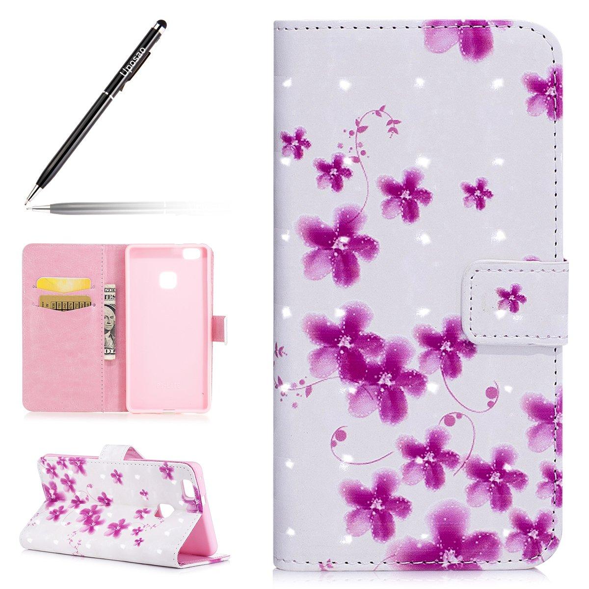 Uposao Etui Huawei P9 Lite Coque en PU, Pochette Portefeuille en Cuir Coque de Protection,Stand Housse Magnetique Etui Rabat 3D Effet Motif Coloré Mandala Fleur Flamingo Coque Huawei P9 Lite.
