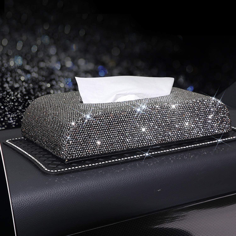 Schwarz Schwarz Xigeapg Diamant Kosmetikt/ücherbox Haushalt Auto Aufbewahrungsbox Mode Auto Dekoration Multifunktionale Auto Aufbewahrungsbox Mode Dekoration