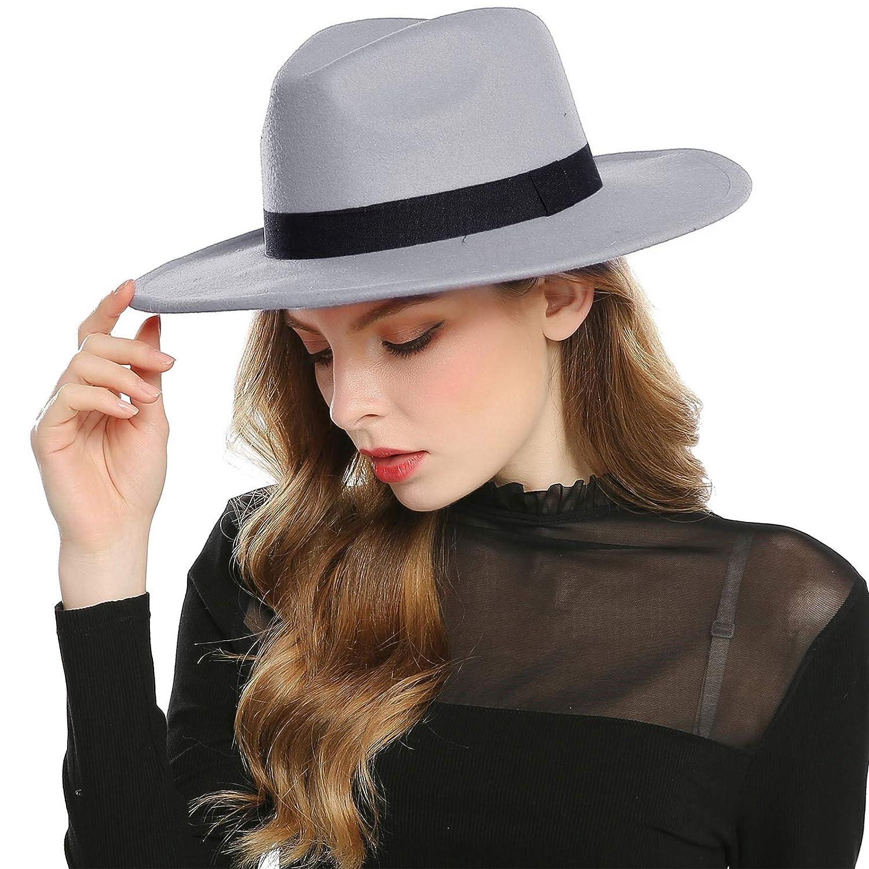 Haimeikang Womens Faux Wool Felt Fedora Hat Wide Brim Derby Church Party Panama Winter Hats
