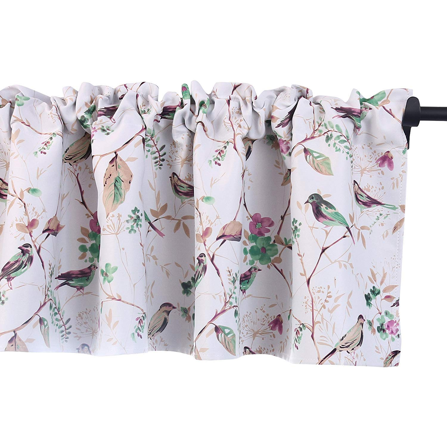 HOLKING Bird Printed Valances for Windows Room Darkening Kitchen Curtains Valances with Rod Pocket (52 by 18 inch,1 Panel,Yellow) HQ-A-HUANG