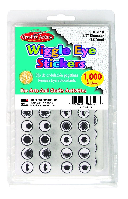 Black Creative Arts by Charles Leonard Wiggle Eye Stickers 64620 Assorted Styles 1000//Bag