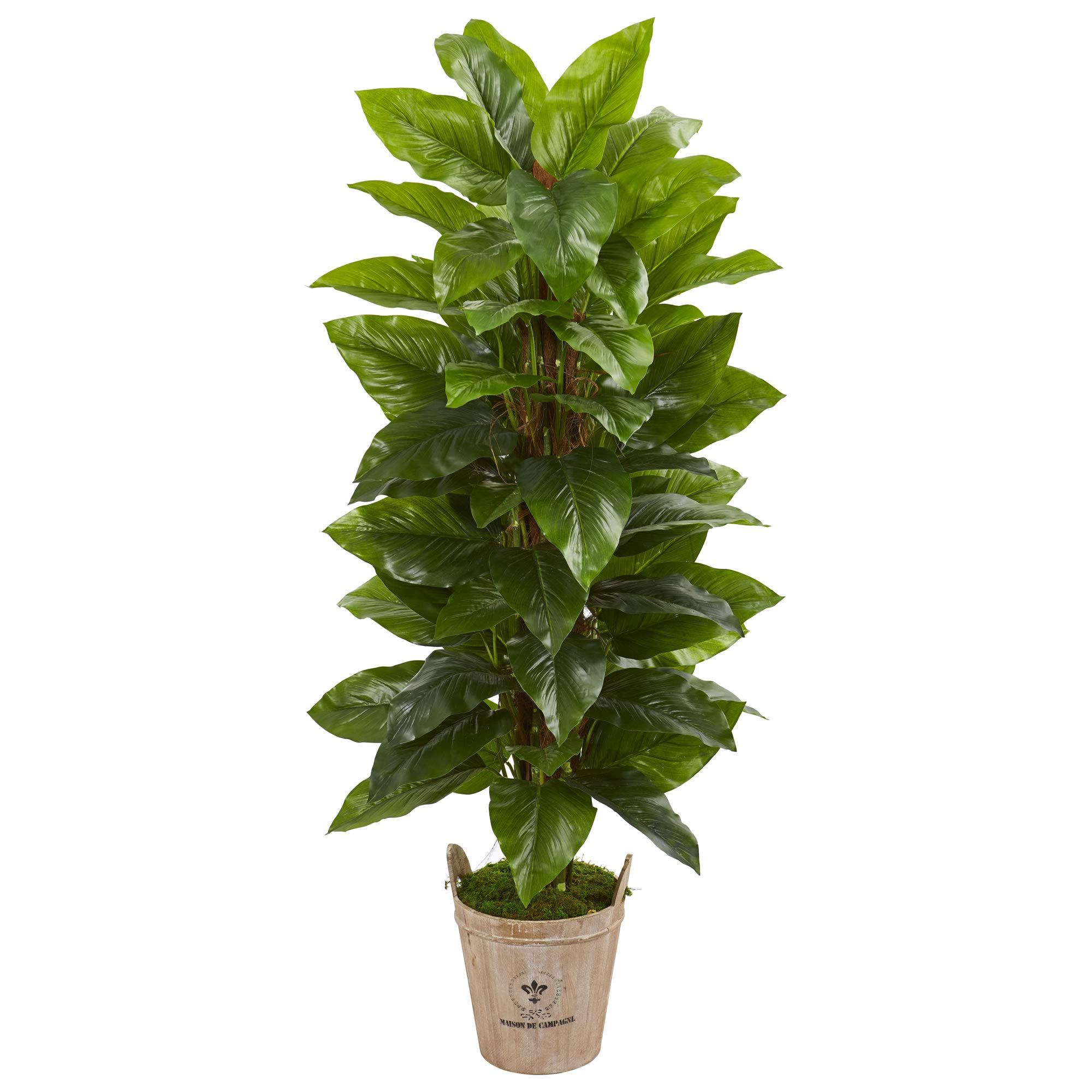 Nearly Natural 9354 63-in. Large Leaf Philodendron Artificial Farmhouse Planter (Real Touch) Silk Plants Green