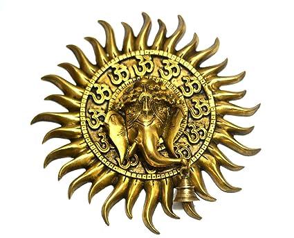 Amazon.com: CraftVatika Sun God Ganesha Wall Sculpture, Brass Metal ...