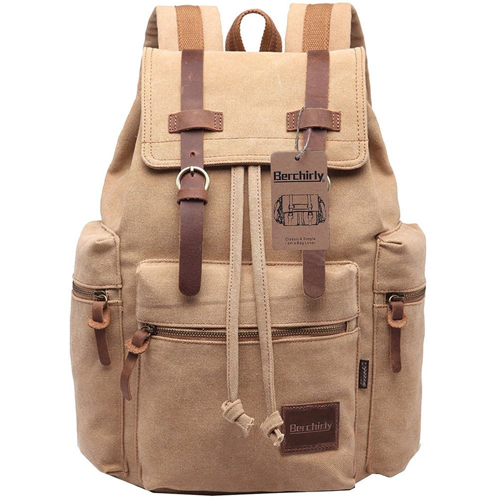 Berchirly Vintage Casual Canvas Leather Backpack Rucksack Travel Bookbag Satchel