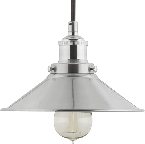 Andante LED Industrial Kitchen Pendant Light Brushed Nickel Hanging Fixture – Linea di Liara LL-P407-LED-BN