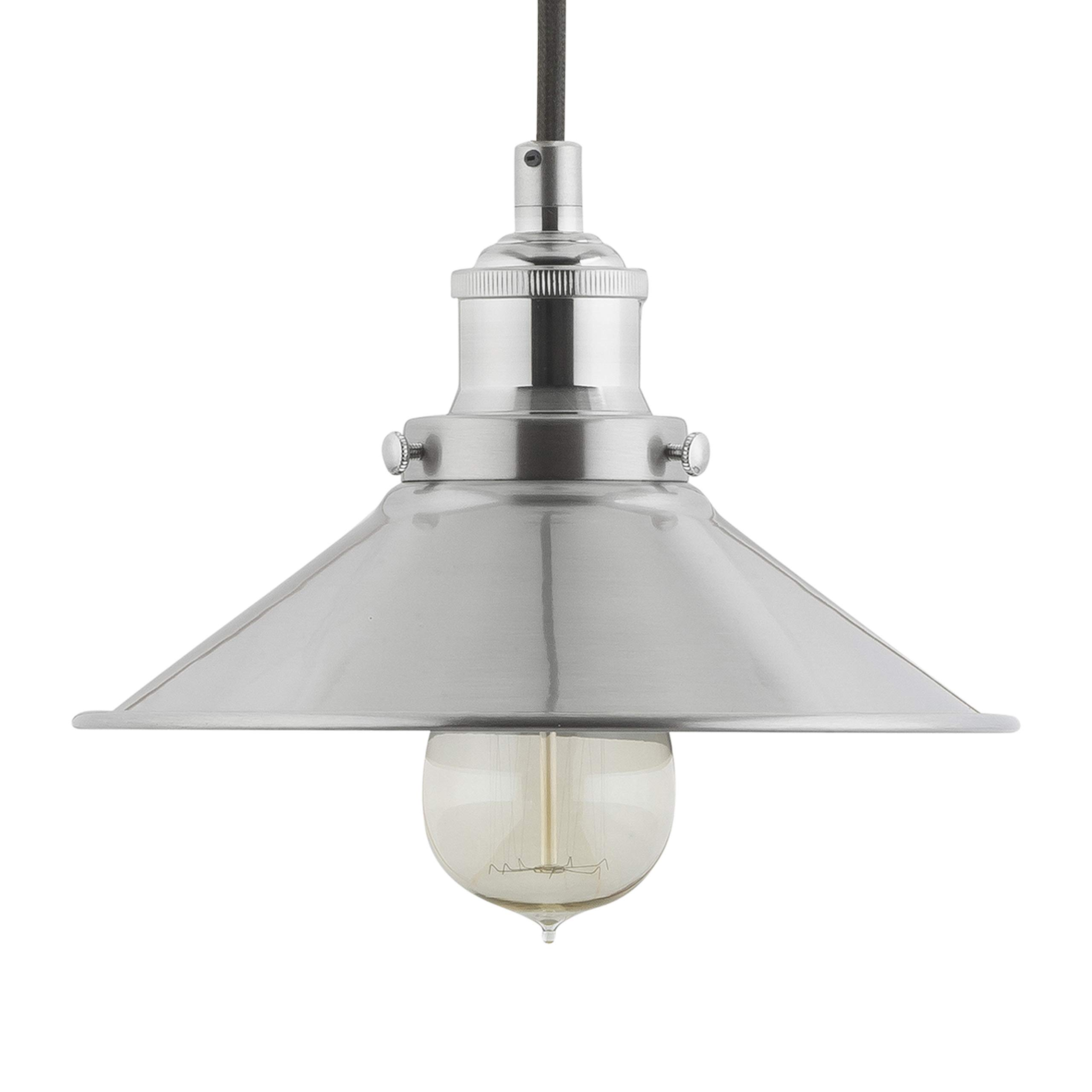 Andante Industrial Kitchen Pendant Light - Brushed Nickel Hanging Fixture - Linea di Liara LL-P407-BN