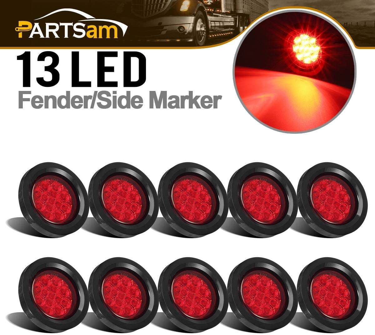 Partsam 10Pcs 2.5 Round Red Led and Side Marker Lights Kit 13 Diodes with Light Grommet and Wire Pigtail Truck Trailer Rv Flush Mount Waterproof 12V Sealed 2.5 Round Led Marker Lights