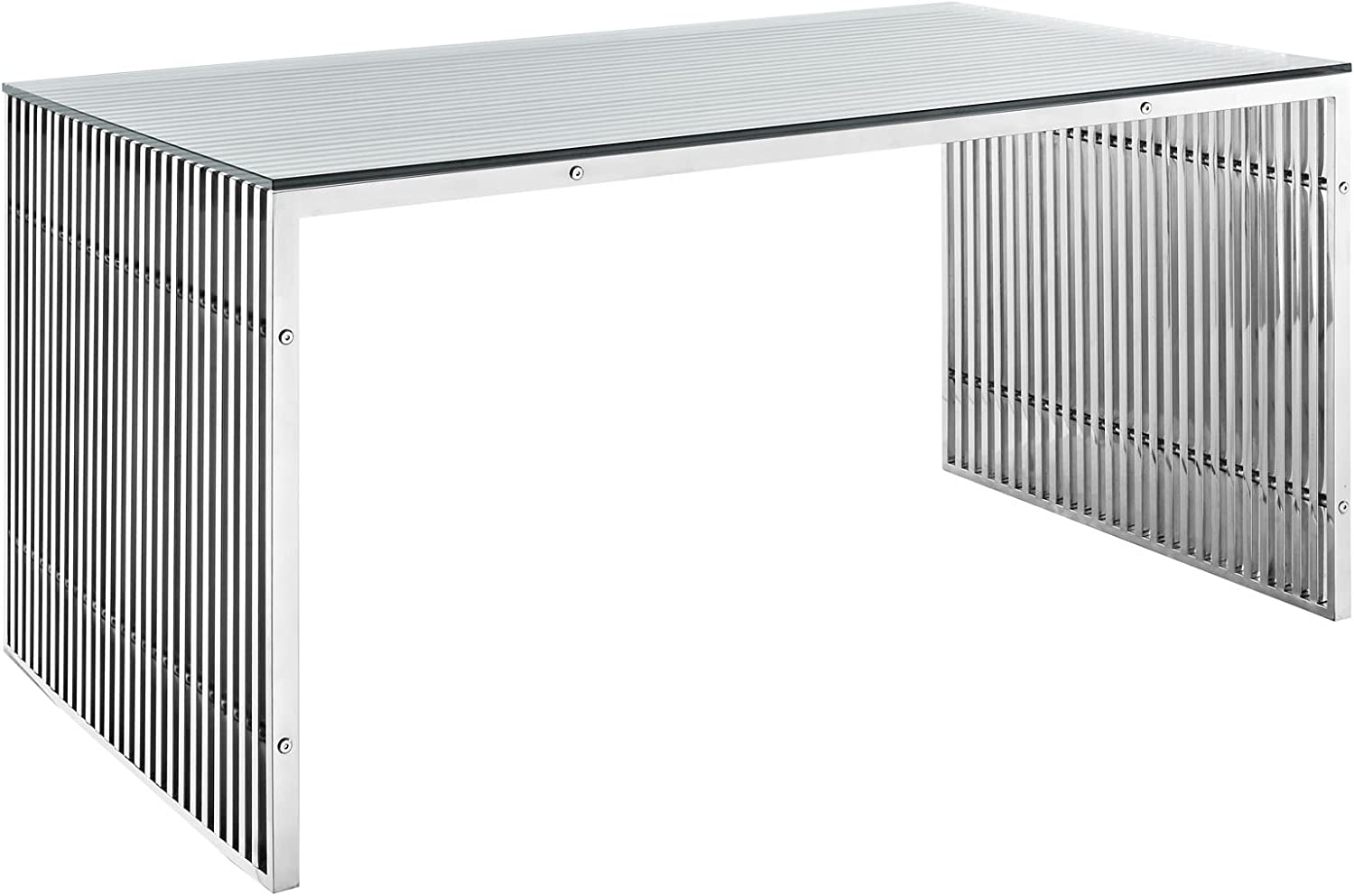 """Modway Gridiron 59"""" Industrial Modern Stainless Steel Dining Table in Silver"""