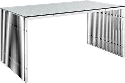 Modway Gridiron 59 Industrial Modern Stainless Steel Dining Table in Silver