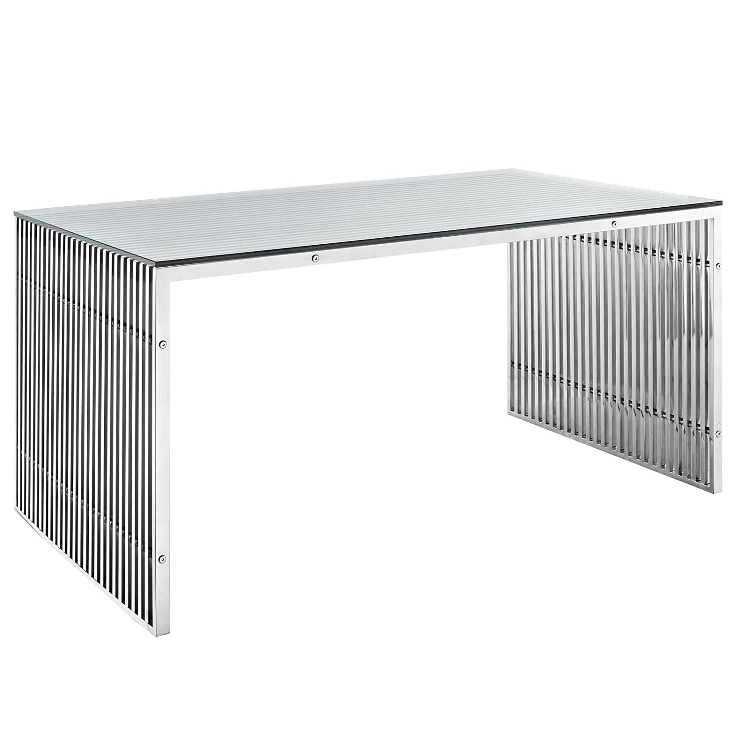 Silver Office Desk   Table Modway Gridiron Contemporary Modern Small Stainless Steel Bench, 19.5