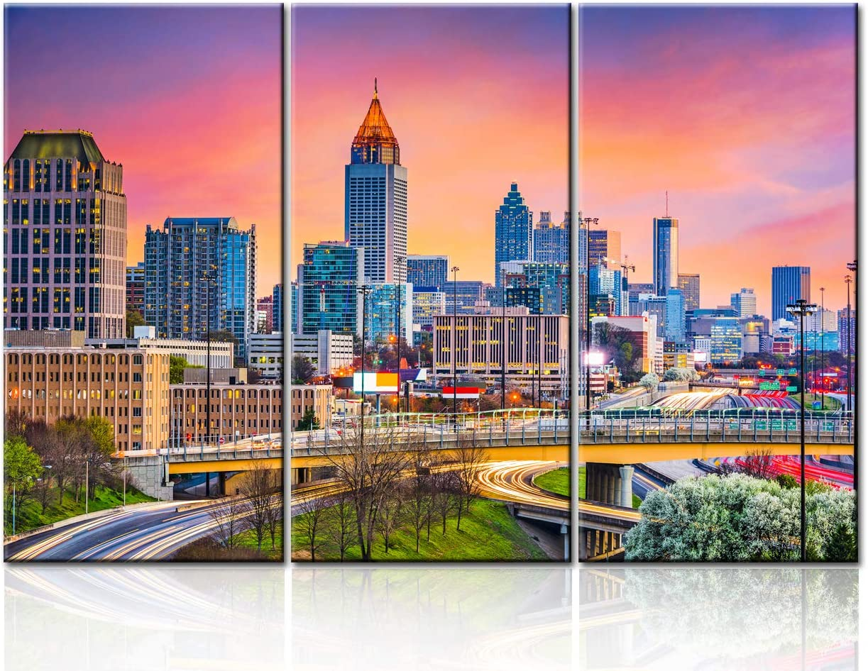 Cityscape Pictures for Living Room Native American Wall Art House Decorations 3 Panel Canvas Atlanta, Georgia Skyline Painting Sunset Home Decor Modern Artwork Framed Ready to Hang - 28''x14''x3