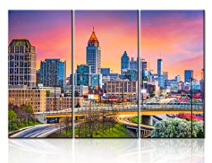 Modern Art Work Urban Office Buildings Pictures for Living Room 3 Piece Canvas Wall Art Atlanta, Georgia Skyline Painting Cityscape Home Decor Artwork Framed Stretched Ready to Hang - 40''x20''x3