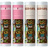Eco Lips Mongo Kiss 4 Pack Lip Balm - Strawberry Lavender & Coconut Variety - 100% Natural and Made in USA