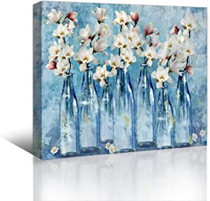 Bathrooms Blue Theme Pictures Wall Decor Flower Bathroom Decor Bedroom Wall Art Framed Modern Artwork for Home Walls Canvas Bathroom Decor Wall Art Kitchen Watercolor Print Wall Decoration Size 12x16