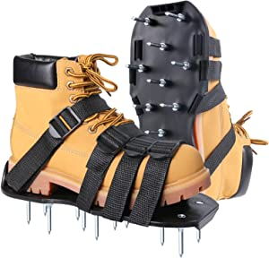 Beidi Lawn Aerator Shoes Lawn Sandals with 26 Aerating Spikes Soil Aeration Shoe Pair with Spikes One-Size-Fits-All Secured Straps Design Nonslip Buckle Black