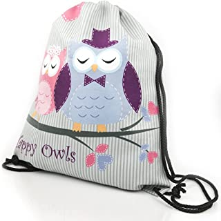 Owls HAPPY OWLS COLLECTION pink grey kids fashionable drawstring bag shoe bag backpack PREMIUM COLLECTION 2018