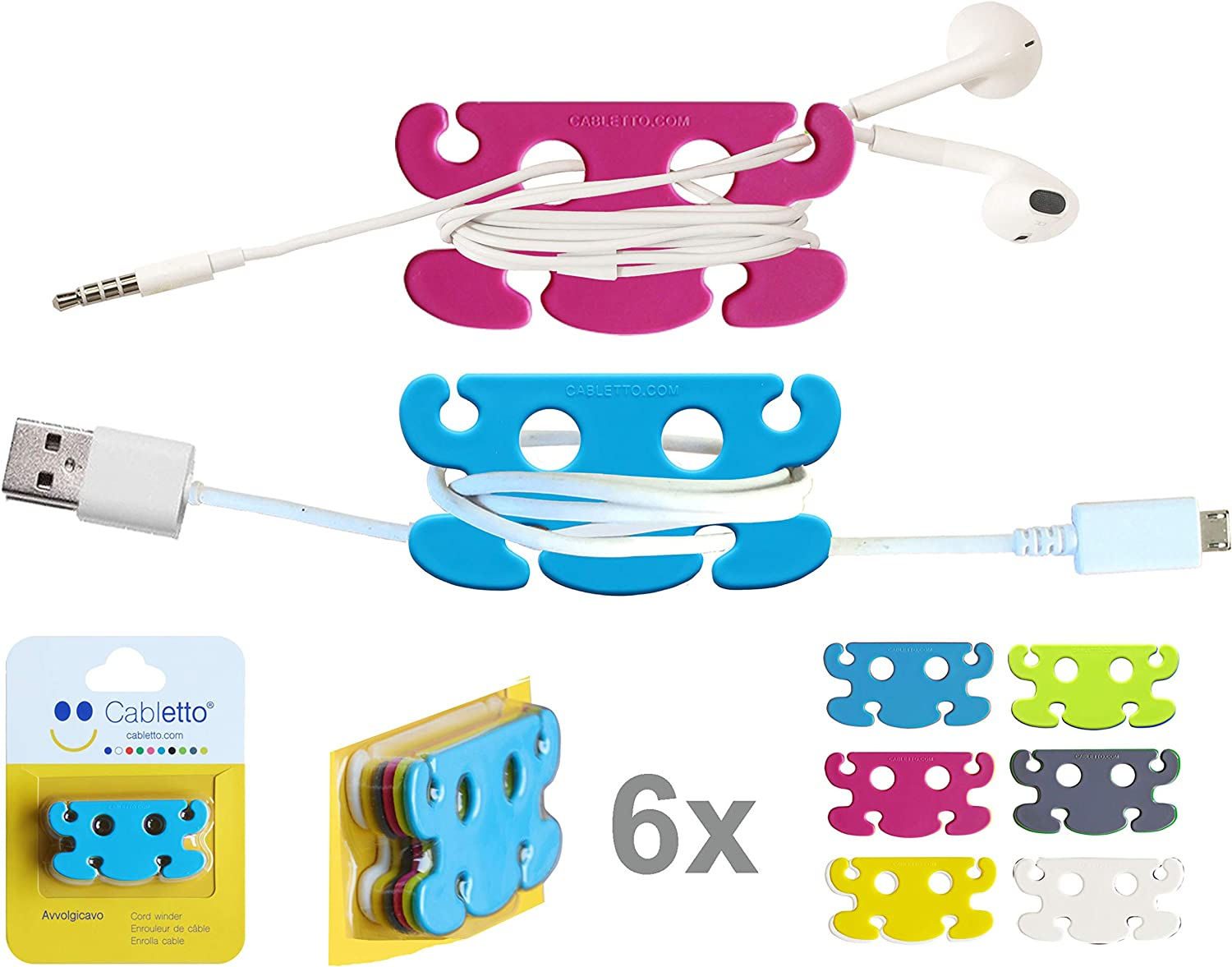 CABLETTO Cord Wrap Keeper and Organizer Earbud Holder Small Cable Winder Manager Shortener. Cables and Strings in Order in Your Pocket, Bag or Backpack, Drawers and containers. 6 pcs 1 Pack