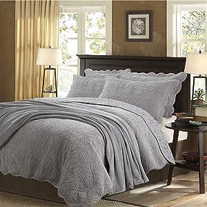 Luxery Winter Fannel Bedspreads Coverlet Warm Soft Bedding Quilt Set, Velvet Reversible Quilt Set, Queen Size 3Pcs