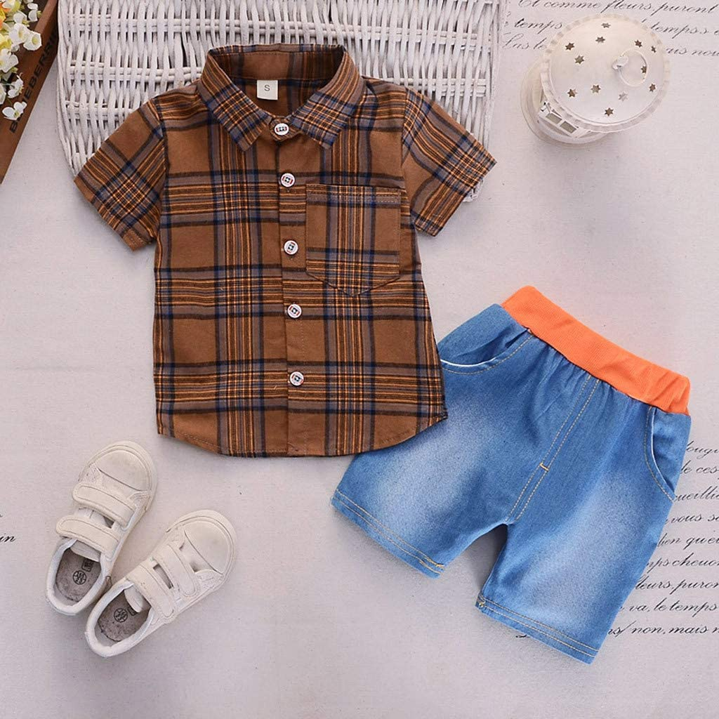 KONFA Short Sleeve Plaid Shirt with Pocket+Denim Shorts 2Pcs Outfits for Toddler Kids Infant Baby Boys Clothes Summer