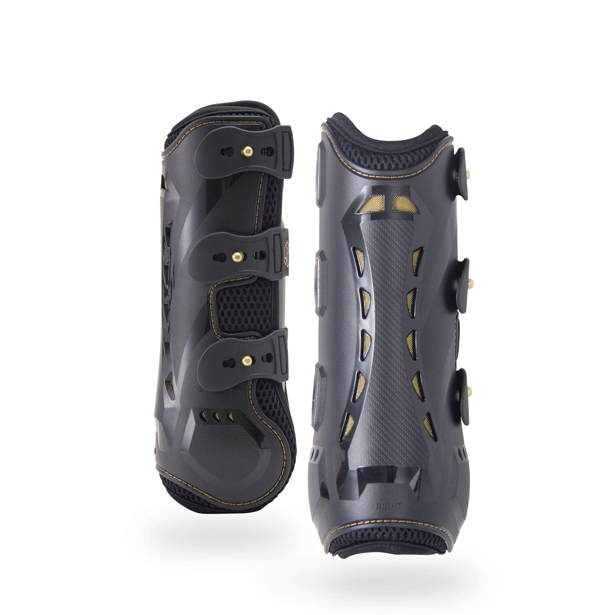 Horse Tendon Boots by Kavallerie: Pro-K 3D Air-Mesh Horse Boots, Showjumping, Horse Jumping Boots, Lightweight with Breathable Soft Padding for Less Sweat and Rubs [Black]
