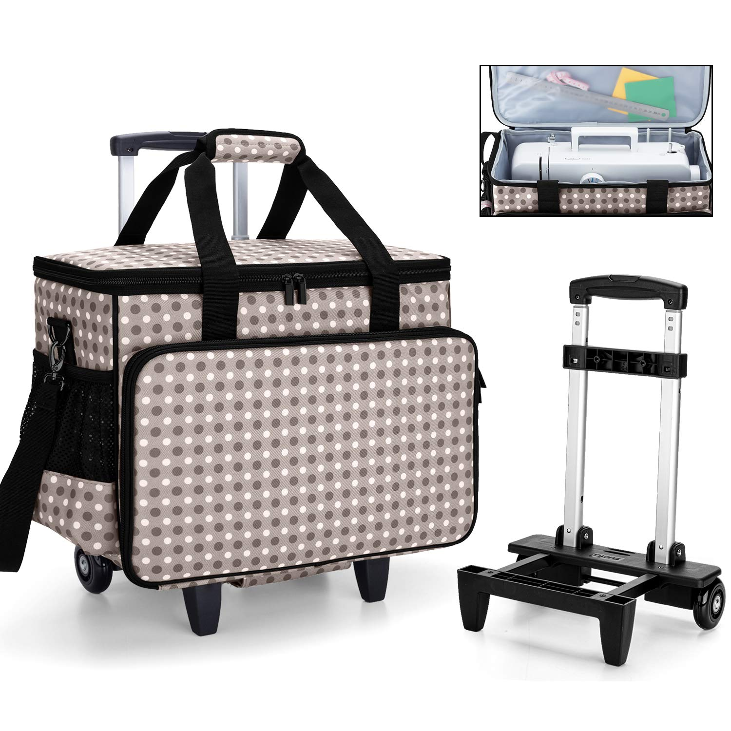 Yarwo Detachable Rolling Sewing Machine Carrying Case Trolley Tote Bag with Removable Bottom Wooden Board for Most Standard Sewing Machine and Accessoriess Purple
