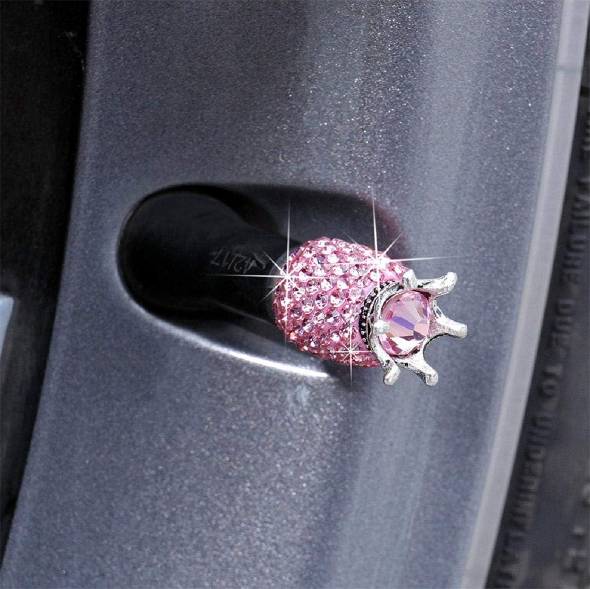 Boddenly 4 Pack Valve Stem Caps Crystal Rhinestone Universal Tire Valve Dust Caps Bling Car Accessories,Car Tire Valve Stem Caps Round Style Air Covers Crystal Universal Tire Caps for Car Wheels