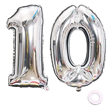 Jurxy Balloon Number 10 Silver Birthday Foil Balloon Helium ...