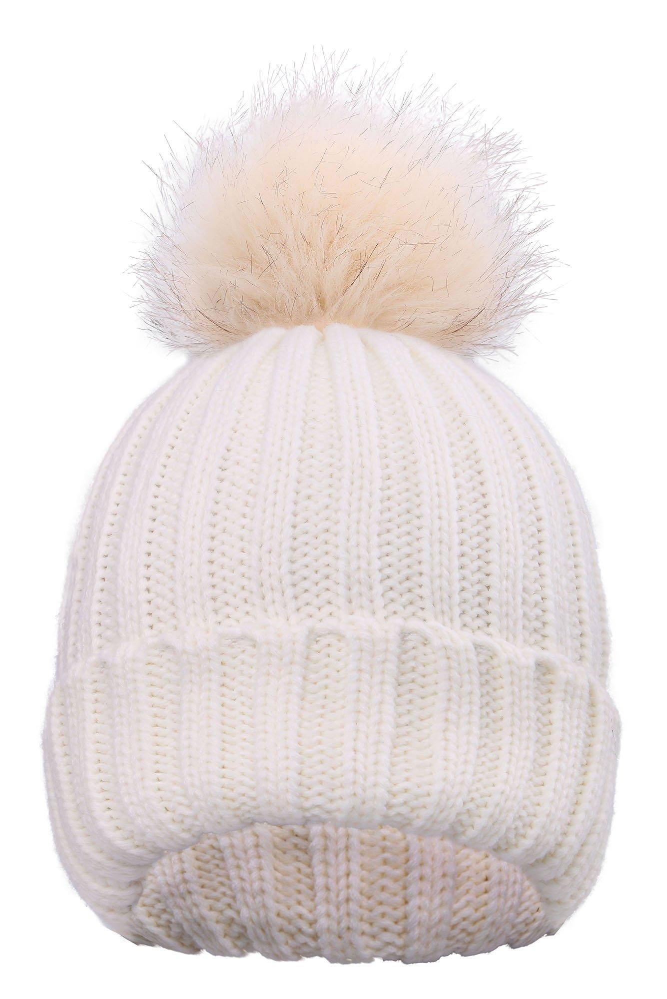 Cute Fluffy Fur Pompom Knit Winter Beanie Hat,White