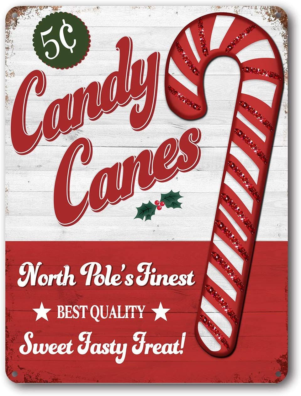 Goutoports Christmas Decor Signs Farmhouse Decorative Red Vintage Wall Decorations - Candy Canes 7.9x11.8 Inch