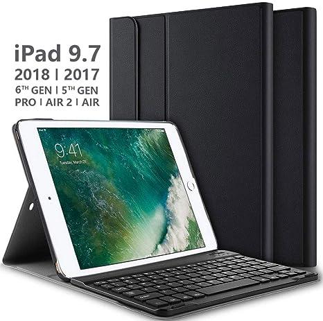 Teclado Estuche para iPad 9.7 2017/2018/ Air/Air 2 [QWERTY Inglés], Slim Smart Cover Funda con Desmontable Teclado para Apple iPad 9.7 Inch (Negro): Amazon.es: Electrónica