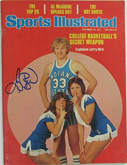 promo code a4f67 12eb2 Larry Bird Indiana State Signed SI Sports Illustrated 1977 ...