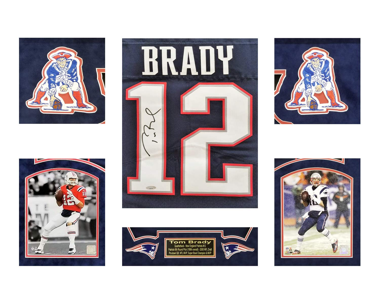 buy popular 5fc28 eff84 Tom Brady New England Patriots Framed Autographed Nike Navy ...