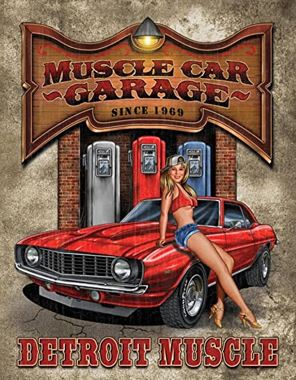 Amazon Com Legends Muscle Car Garage Tin Sign Prints Posters