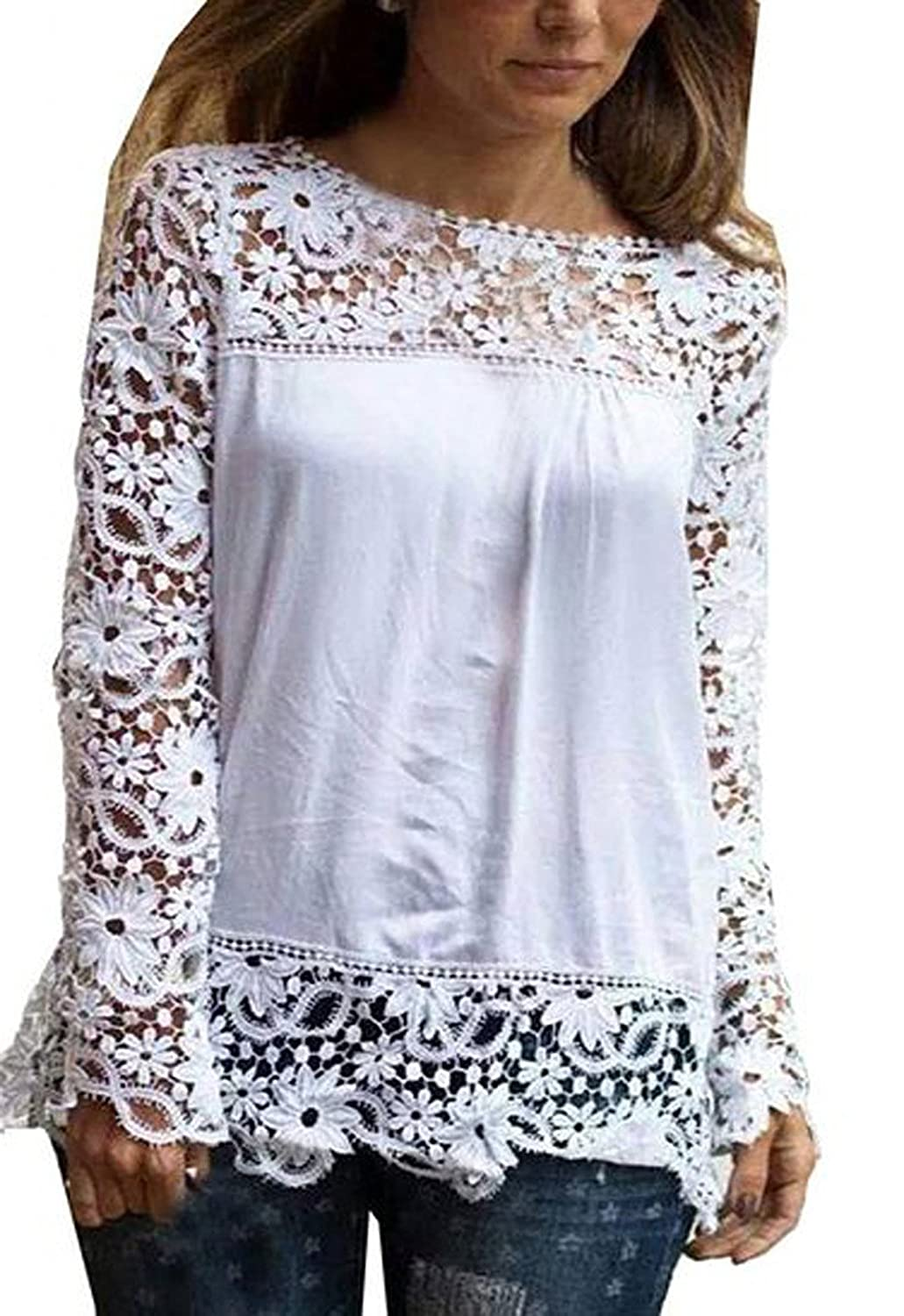 Benjour Women Autumn Hollow Long Sleeve Lace Chiffon T-shirt Tops Casual Blouses [NN6617] -(White-XX-Large)