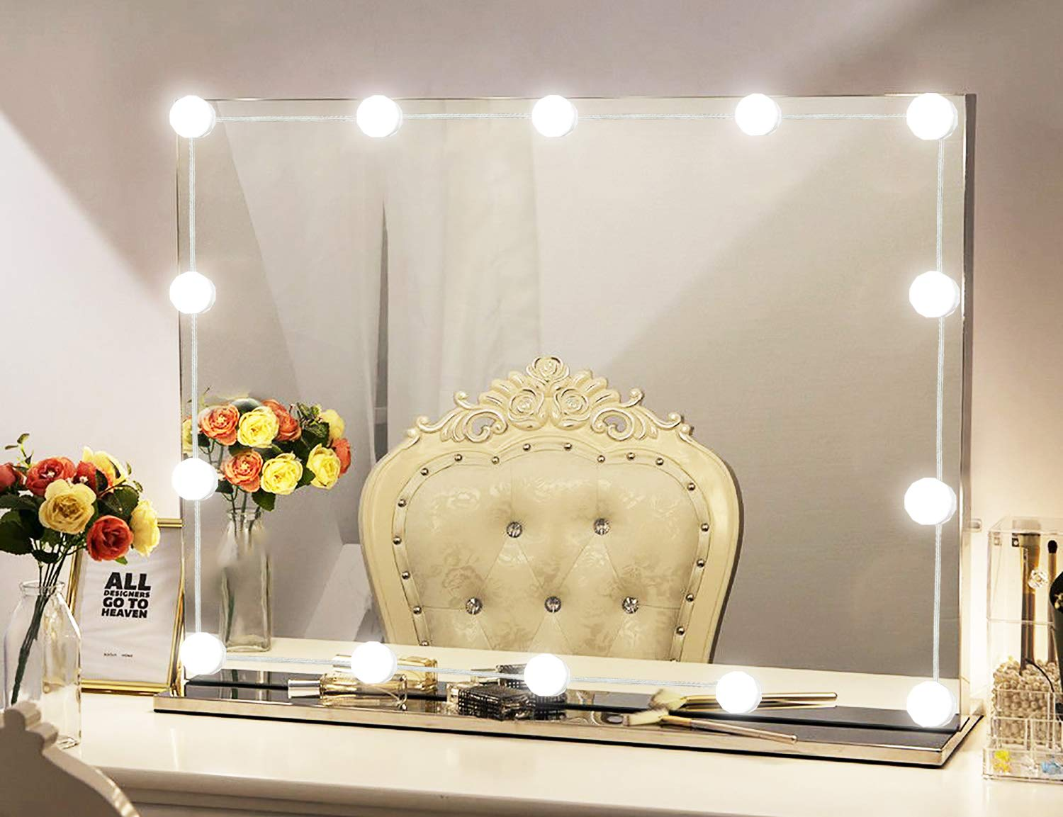 XBUTY Vanity Mirror Lights Kit Hollywood Style 14 Dimmable LED Light Bulbs Warm White to Daylight Tunable, Linkable Lighting for Makeup Vanity Table Set Dressing Room Mirror Not Included