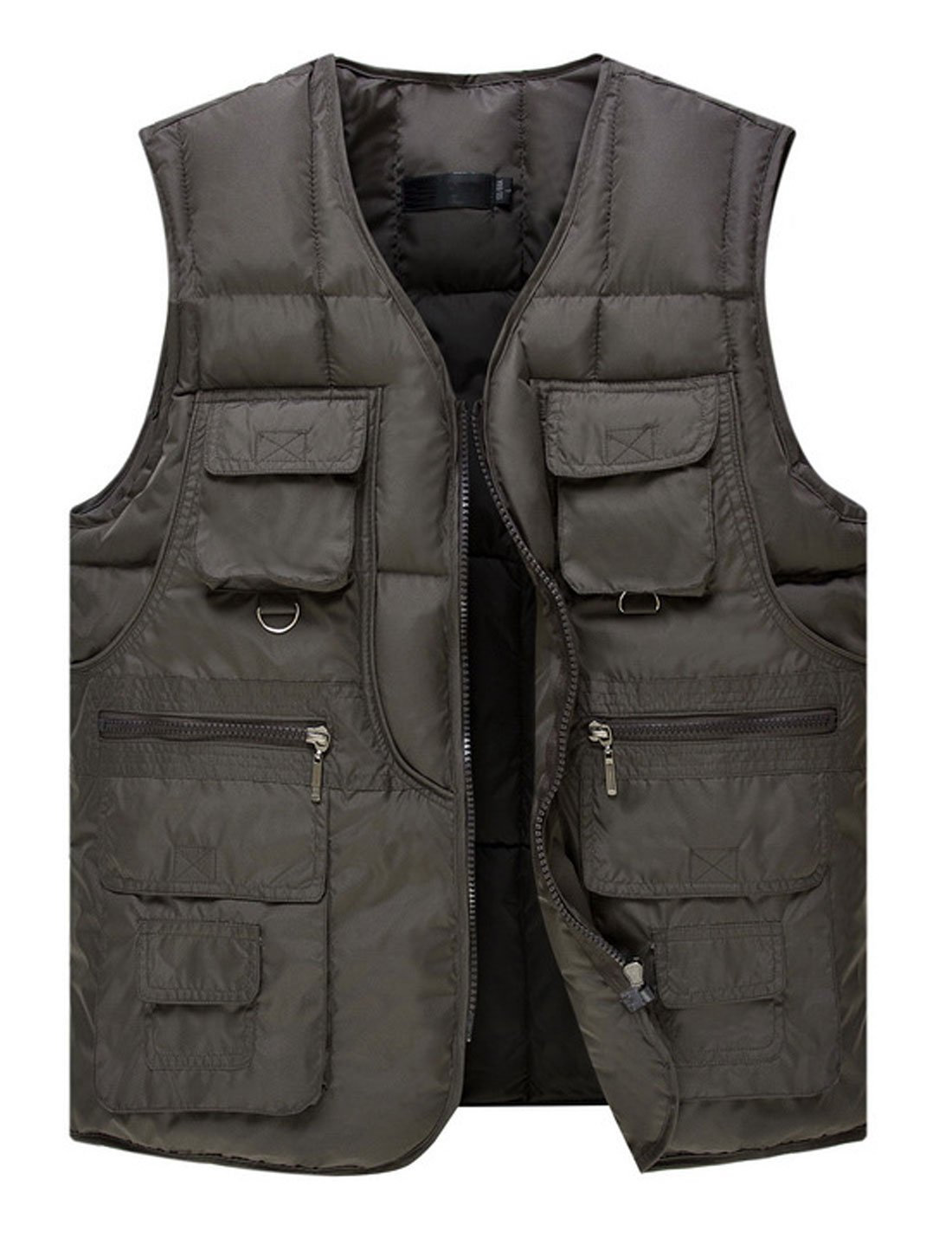 Yeokou Men's Winter Outdoor Quilted Cotton Padded Puffer Cargo Vest Multi Pocket (Medium, Grey)