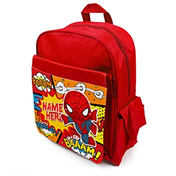 Personalised School Bag Spiderman Superhero KS127 Girls Boys Backpack Kids  Book Childrens Rucksack - Red  Amazon.co.uk  Luggage e33959d2e4fec
