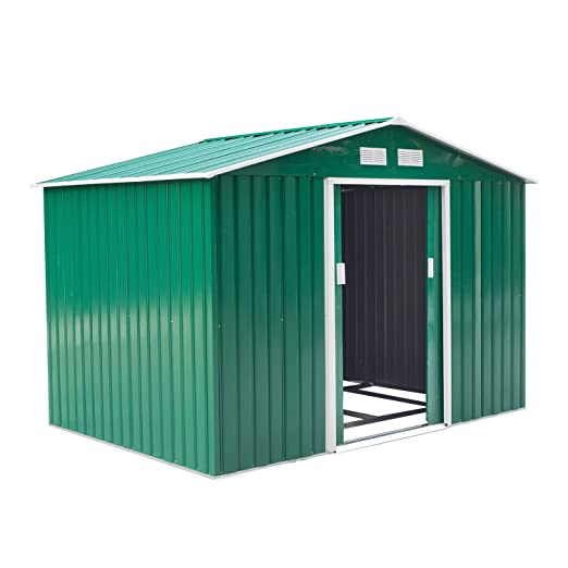 Outsunny Caseta de Jardín Tipo Cobertizo Metálico Verde/Amarillo para Almacenamiento de Herramientas 277x191x192cm (Verde Oscuro)