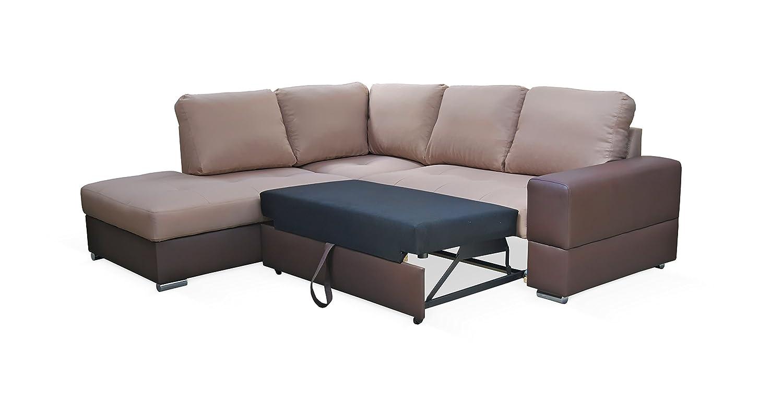 Rabatti Dortmund Stylish Designer Sofa mit Schlaffunktion, kunstleder Hellbraun, Schnekelmaß 250 x 220 cm, Ecksofa Couch Schlafsofa Ottomane Links