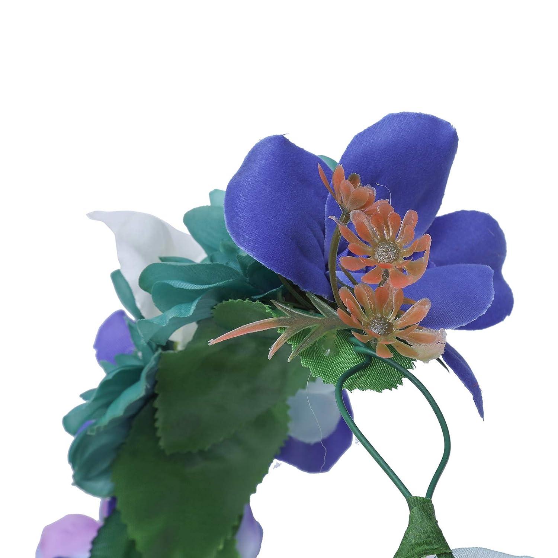 AWAYTR Femmes filles Couronne de fleurs Bandeau Boh/émien Ajustable Bandeau de fleurs avec baies Couronne de cheveux de mariage pour enfants Coiffe de f/ête guirlande de fleurs