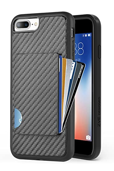 online retailer c05c2 30c26 ZVEdeng iPhone 7 Plus Wallet Case, iPhone 8 Plus Card Holder Case,  Shockproof iPhone 7 Plus Credit Card Cover with Carbon Fiber Slim Wallet  Card Case ...