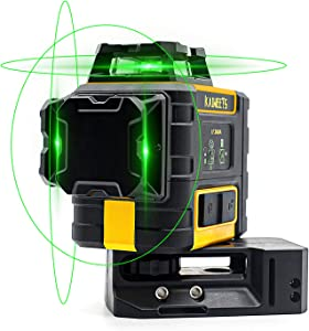 KAIWEETS Laser Level 3 X 360 Green Line, Self-Leveling Construction Laser with Pulse Mode, Working time up to 40h, with 2 Rechargeble Lithium Batteries, Magnetic Pivoting Base, Target Plate(KT360A)
