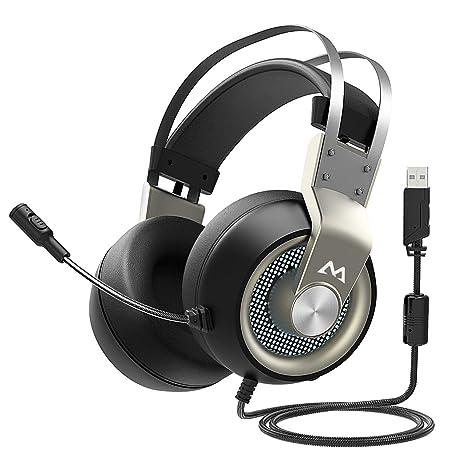【Black Friday】Auriculares Cascos Gaming USB con Microfono PC, Auriculares de Diadema Cerrados