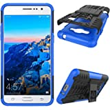 J2 Prime Case, Tyre Pattern Design Heavy Duty Tough Armor Extreme Protection Case with Kickstand Shock Absorbing Detachable 2 in 1 Case Cover for Samsung Galaxy J2 Prime G532. Hyun Blue