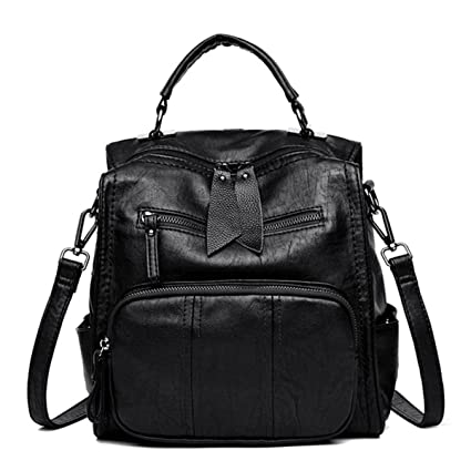 72ccf1c6dc0 Fashion Backpack, JOSEKO Women Soft PU Leather Multi-Function Handbag Solid  Large Capacity Backpack Black