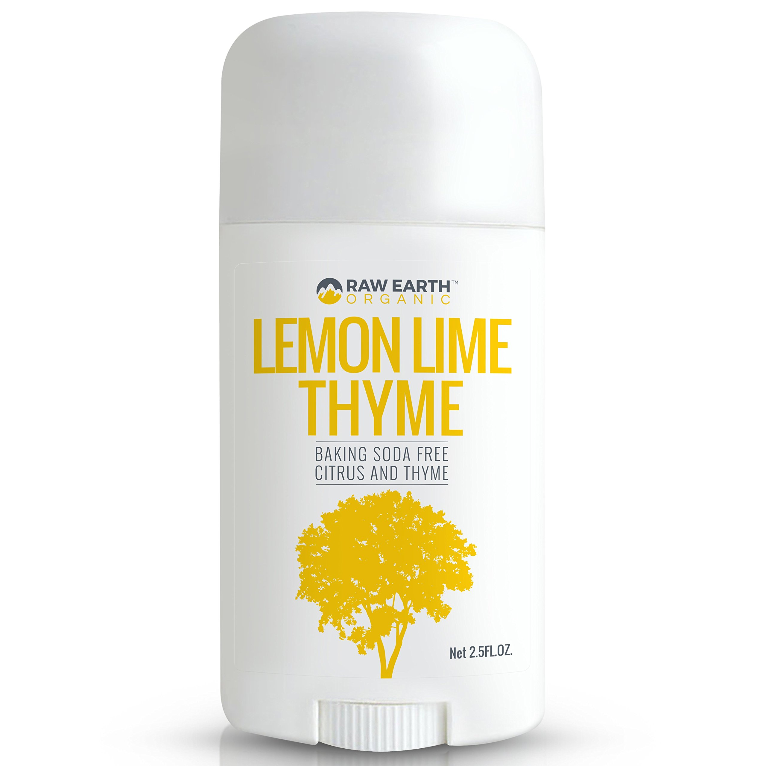 Raw Earth Organic All Natural Vegan Magnesium Deodorant - Baking Soda & Aluminum Free - Lemon / Lime / Thyme (2.5oz)
