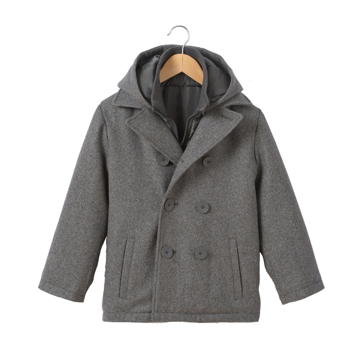 La Redoute Collections Wool Mix Pea Coat, 3-12 Years Grey Size 6 Years (114 cm)