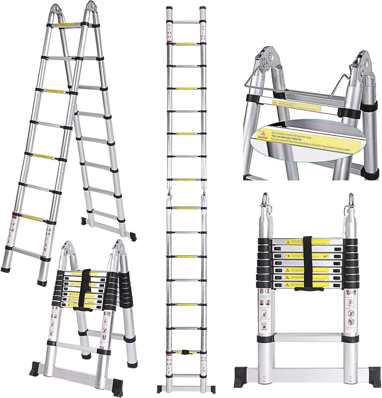 5M Profi Échelle Télescopique Aluminium Pliable Echelle Escabeau multifonction