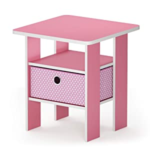 Furinno 11157PI/LPI Andrey End Table Nightstand with Bin Drawer, 1-Pack, Pink/Light Pink
